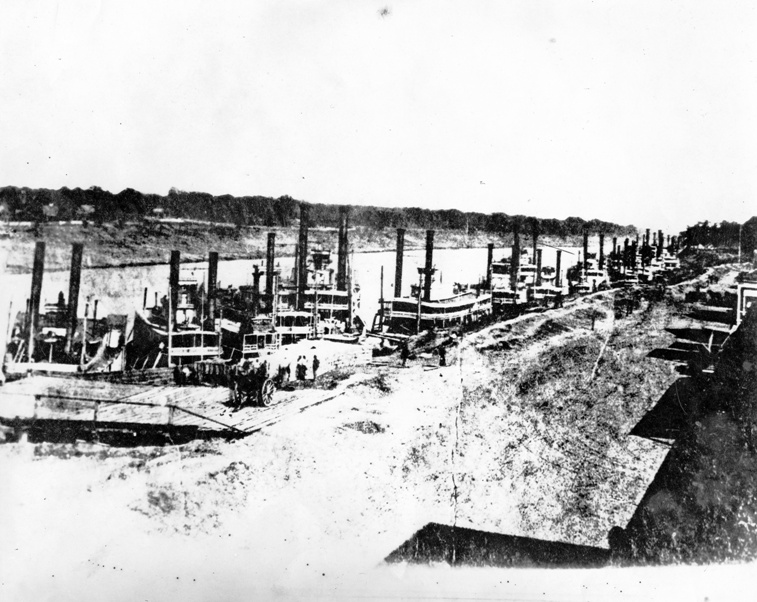 Porter's fleet on the Red River at Alexandria and Pineville, Louisiana, on March 16, 1864