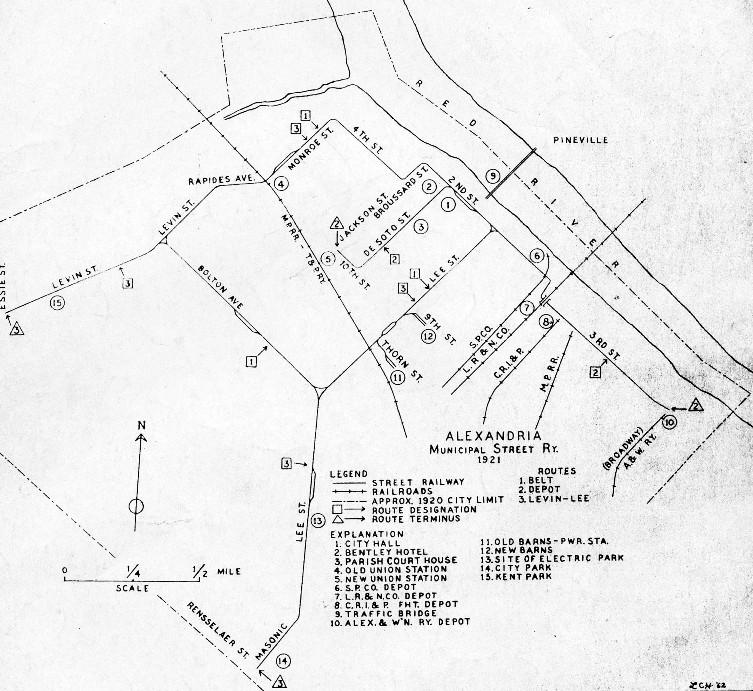 Alexandria Louisiana City Railway Company History Map Trolley - Louisiana map alexandria