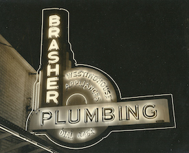 Brasher Plumbing Neon Sign by the Craig Sign Company