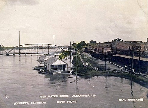 Red River at high water around 1905 in Alexandria Louisiana